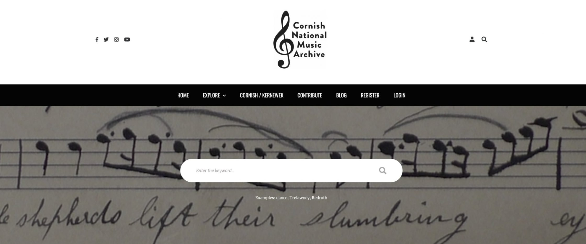 Screenshot of the Cornish National Music Archive website header