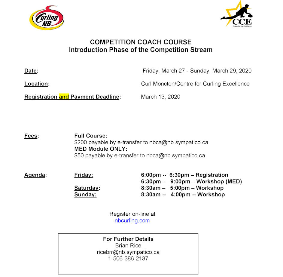 Competition Coach Intro Phase Course in Moncton. Reg. deadline March 13 @ Curl Moncton
