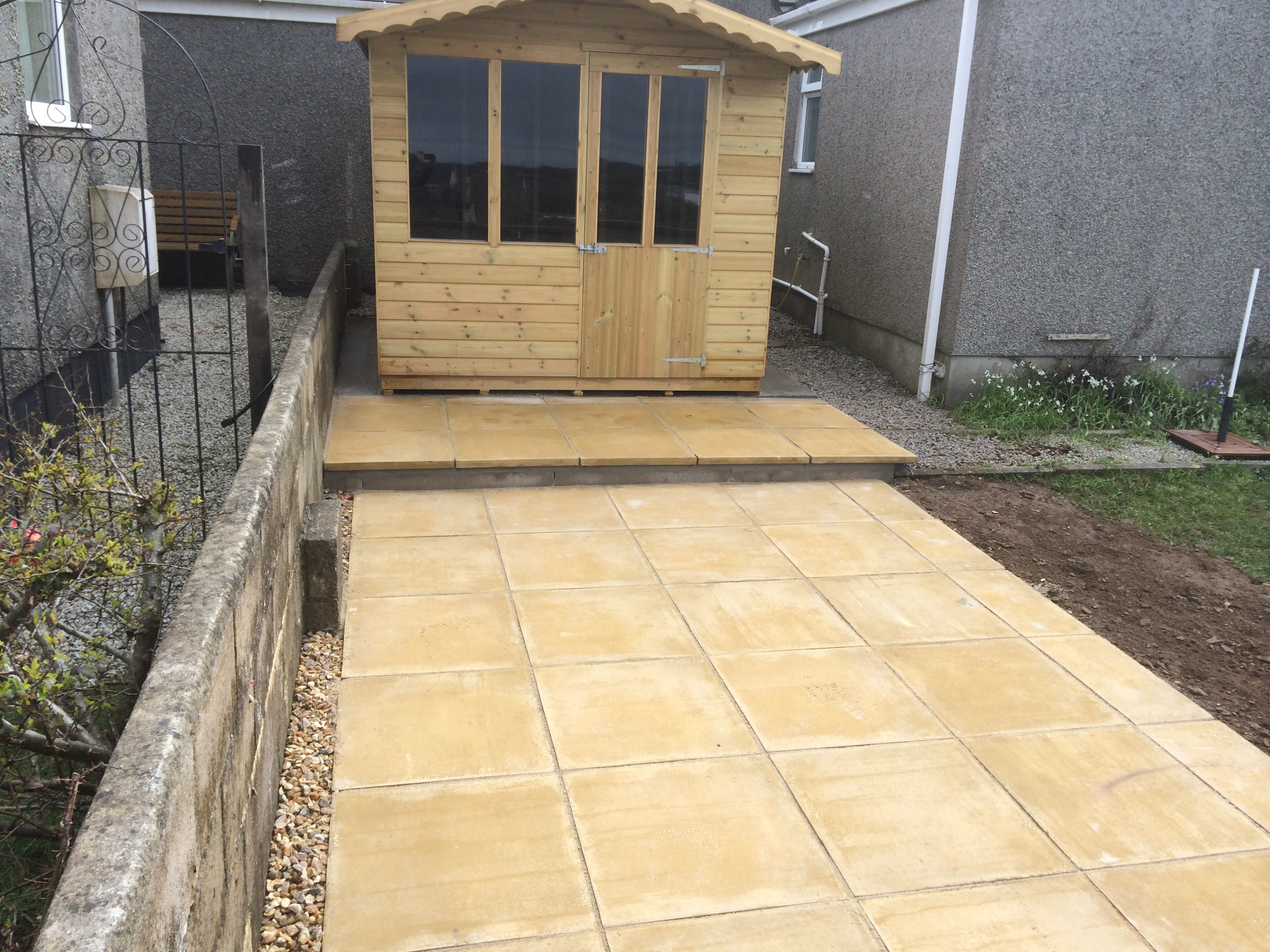 shed base and patio done in redruth