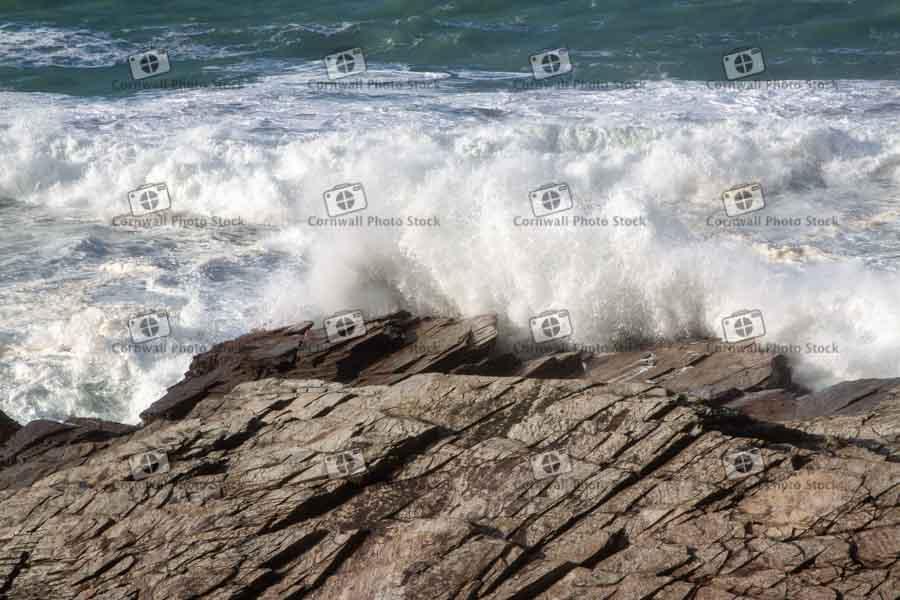 Wave Breaking Over Rock Slab