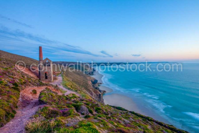 Wheale Coates Cornish Engine House Perched above Chapel Porth Beach in Cornwall