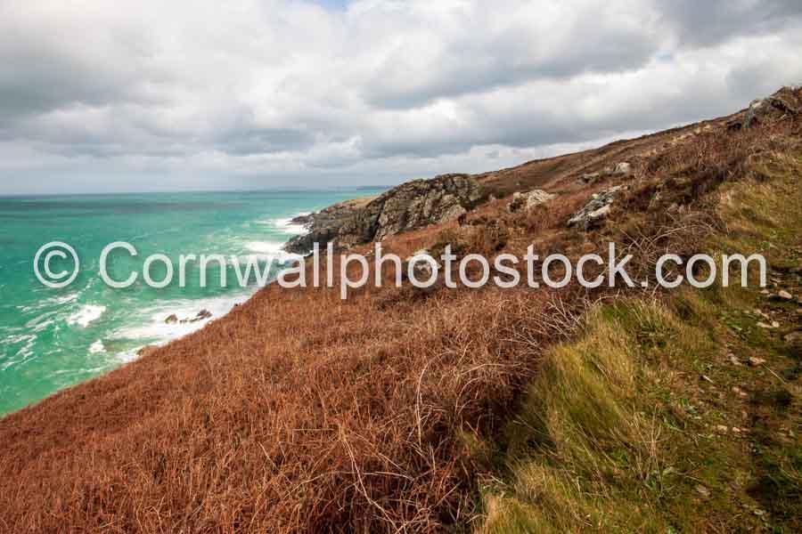 Dramatic Coastline With Rock Outcrop On South West Coast Path