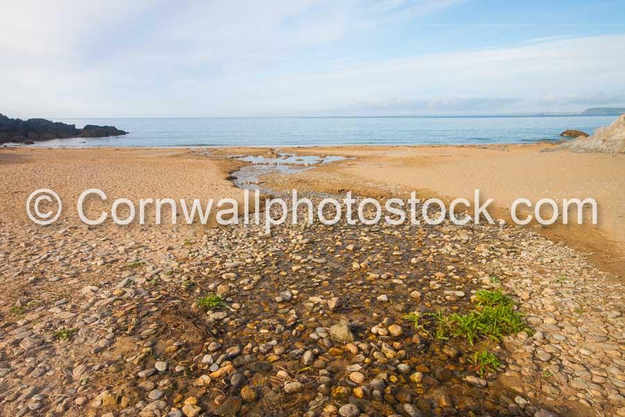 Hemmick Beach Stones and Stream