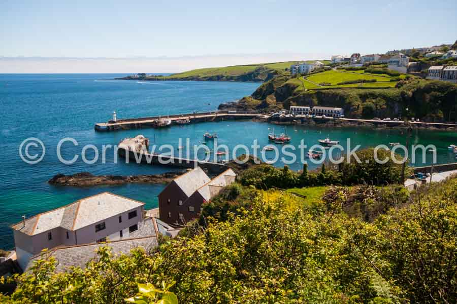 Mevagissey Harbour With Church Point In Distance