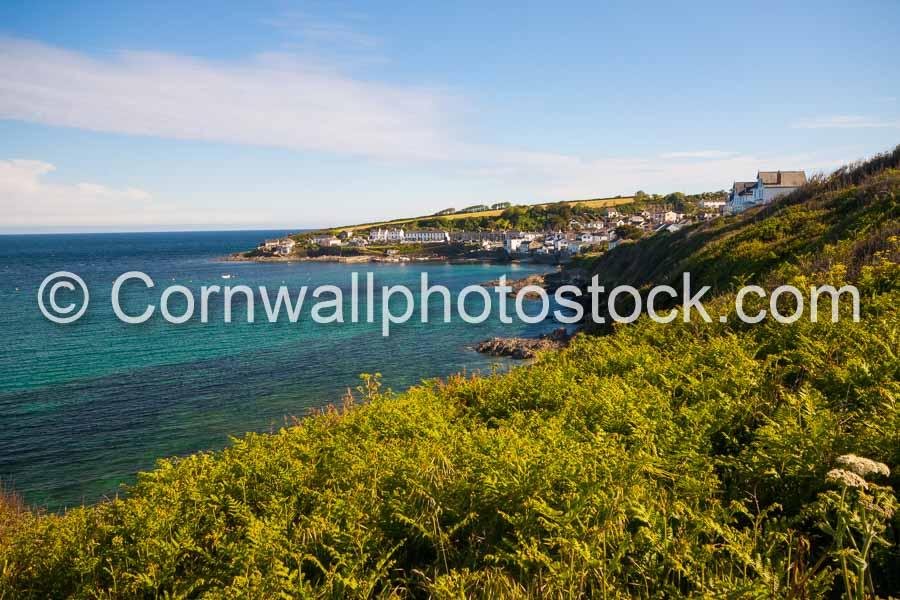 Portscatho In Bright Sunshine With Bracken In Foreground
