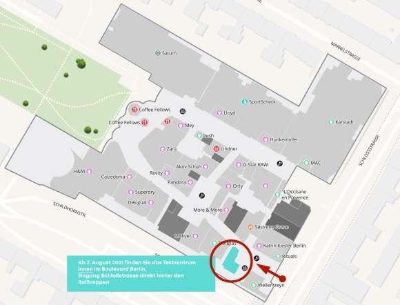 Lageplan des Testzentrums ab 2.8.2021