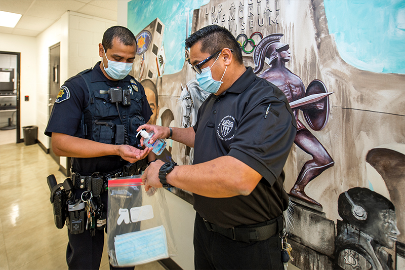 USC DPS practicing self-care during shifts