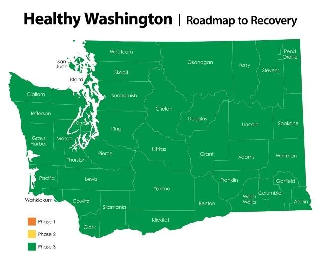 Map of Washington state showing all counties in Phase 3