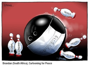 The South African artist Brandan gives his impression of how COVID-19 has put a strike on the world.
