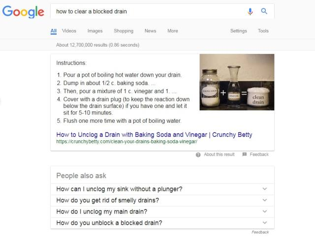 Featured snippet local business