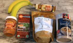 Ingredients for a peanut butter banana chocolate agave smoothie, using all-natural Source Organic Whey protein powder
