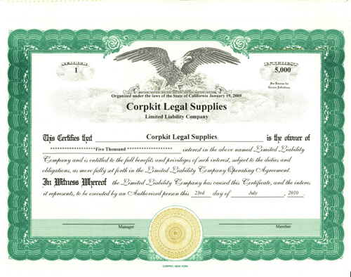 Stock Certificates  Print Investor's Certificate For