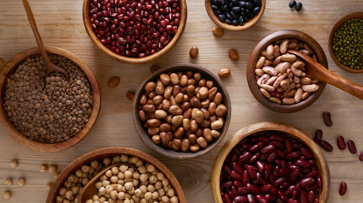 bowls of beans and lentils for postpartum constipation