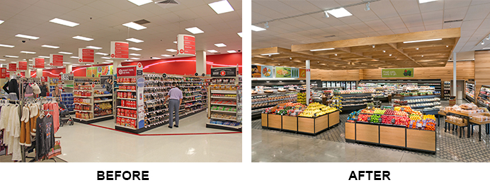 A before and after shot of the grocery department