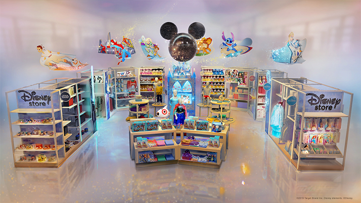 A still rendering of the inside of a Disney store at Target with colorful shelves filled with products and signs featuring characters