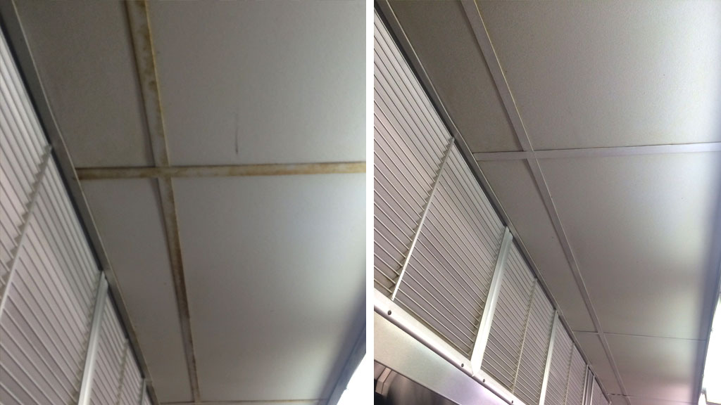 Ceiling Tile Cleaning Before & After