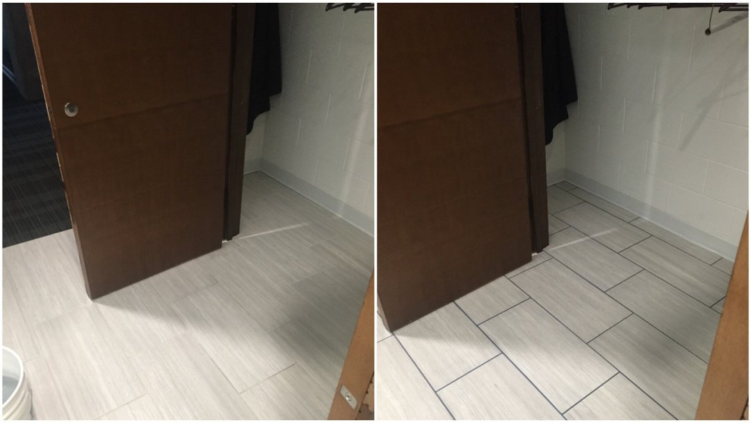 Grout cleaning and dyeing service Before & After in Grand Rapids, MI