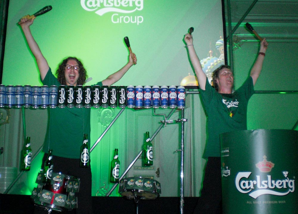 Product launches - Drummers onstage playing Carlsberg branded instruments.