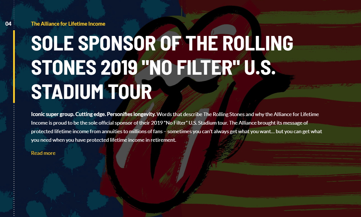 The Alliance for Lifetime Income Retire Your Risk Microsite Rolling Stones Tour Sponsorship Section