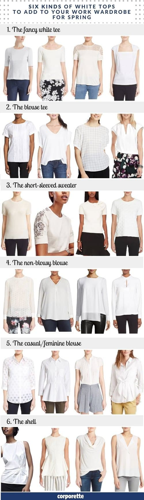 I mostly consider black to be my base for my work wear -- but even I love a white top for spring; they have a way of freshening up your entire work wardrobe and making all of your work outfits that much crisper and lighter! These are the six tops every career woman should consider adding to her wardrobe in spring -- great for wearing under suits, layering under cardigans, and adding as a simple topper to skirts and trousers.