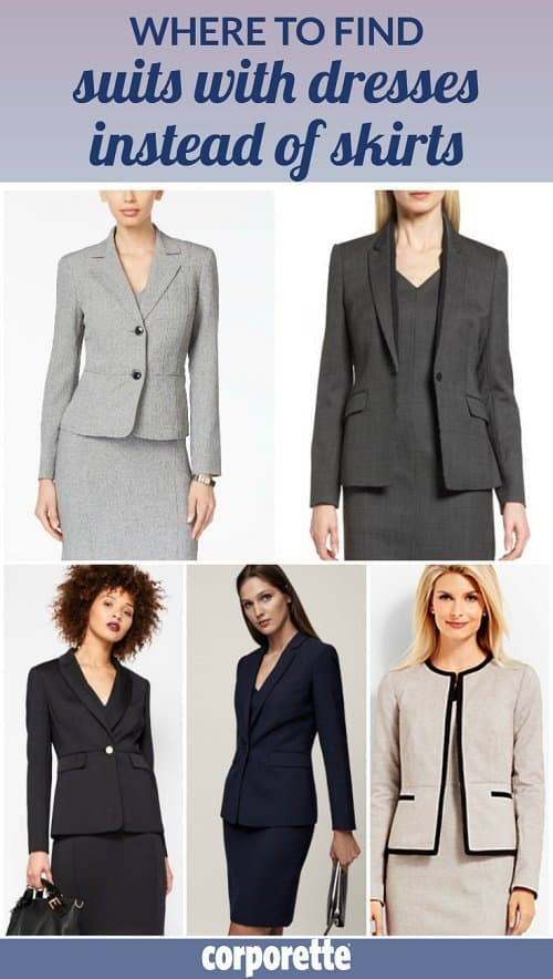 A 35-year-old lawyer wrote in wondering where to find suits with dresses instead of skirts or pants -- so we went on a hunt for her! What are your favorite dress suits, suiting dresses, and sheath dresses with matching blazers, ladies? Do you like to wear them for interview outfits -- or just as office looks or courtroom attire?