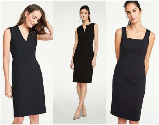 collage of the best classic sheath dresses from Ann Taylor