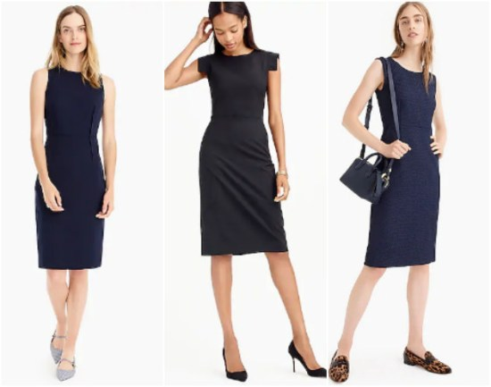 collage of J.Crew dresses for work