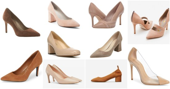 collage of skin-tone pumps for work