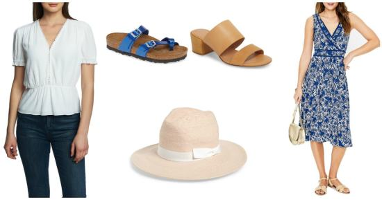 collage of white blouse, blue Birkenstock, beige sandal, blue sundress, beige straw hat