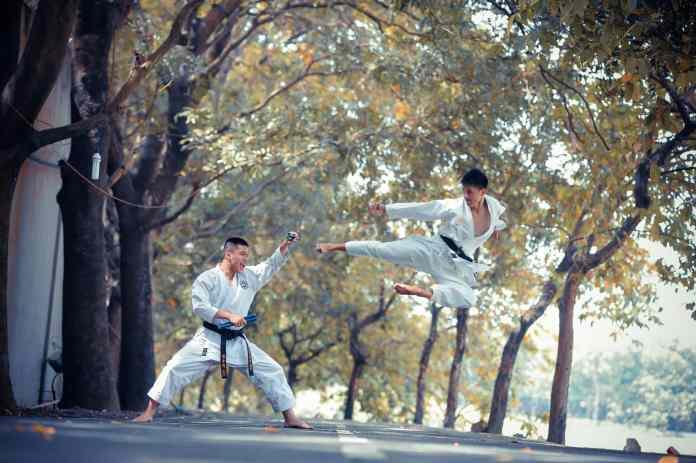 deux karatekas qui combattent