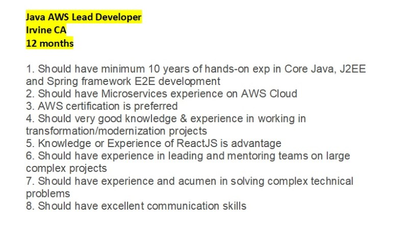 Looking for Java AWS Lead Developer