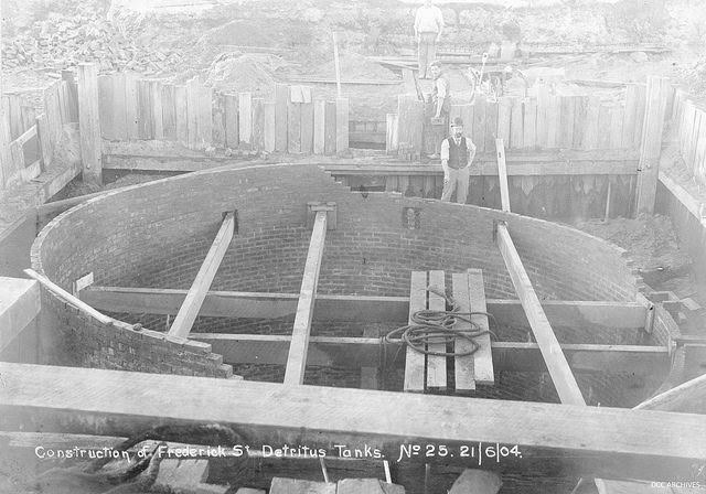 Construction of Frederick St Detritus Tanks 1904