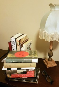 Sue's bedside library books