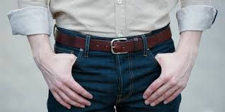 man and belt