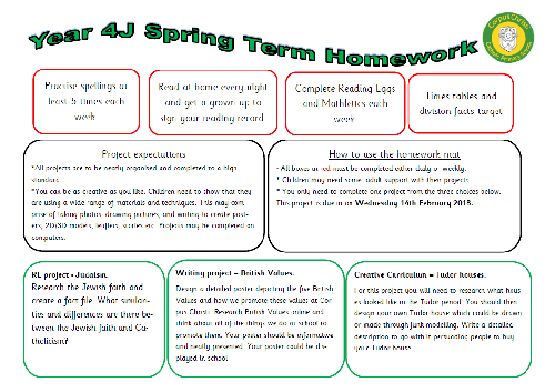 Homework mat year 4 spring