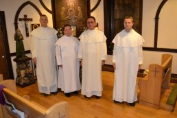 Pictured are Fr. Mariusz Dymek, Vicar of the Southeast Vicariate, and Pastor of St. Stanislaus Bishop & Martyr Church, and Administrator of Corpus Christi Church Buffalo with Fr. General, and the Secretary of the Order. Accompanying Fr. General Arnold Chrapkowski was Fr. Michał Lukoszek, Vicar General of the Pauline Order (far right).