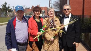 A mix of blessed tropical and Polish flower palms which were made by Marianna and Julian Wolanin and sold among other parishioners to benefit Corpus Christi Church Buffalo