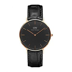 DANIEL WELLINGTON WITH LEATHER STRAP, BLACK CASE, QUARZ, TIMEPIECE, MENS WATCHES