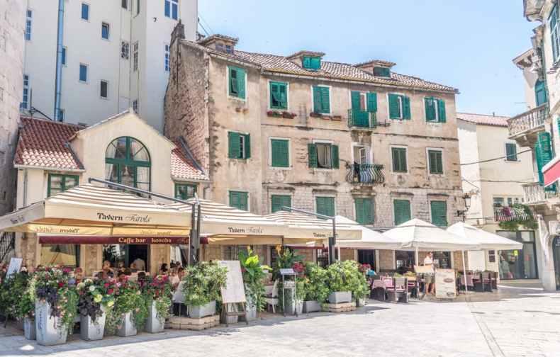Charming Fruit Square in the center of Split, Croatia.