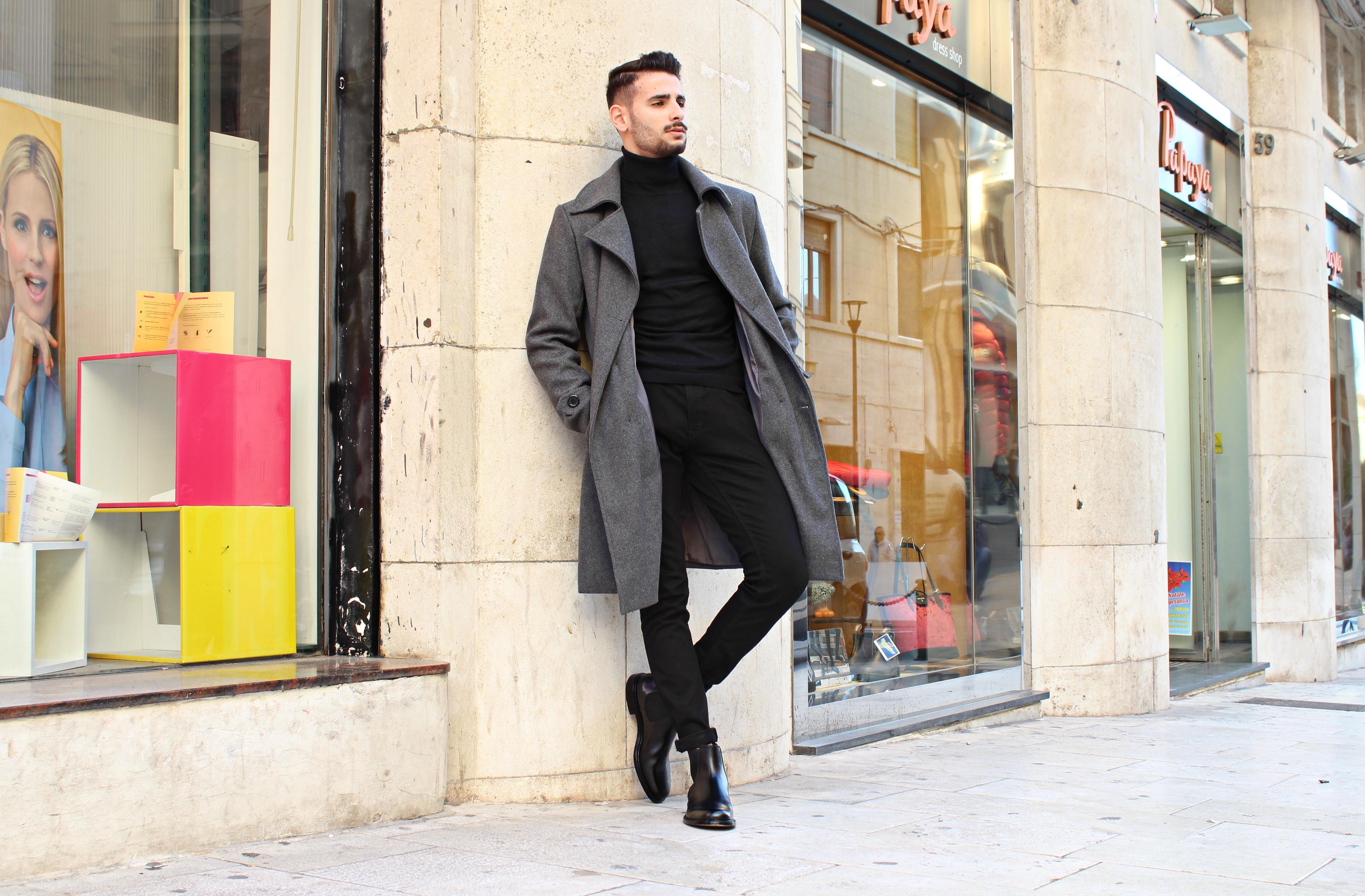 cappotto nero uomo abbinare