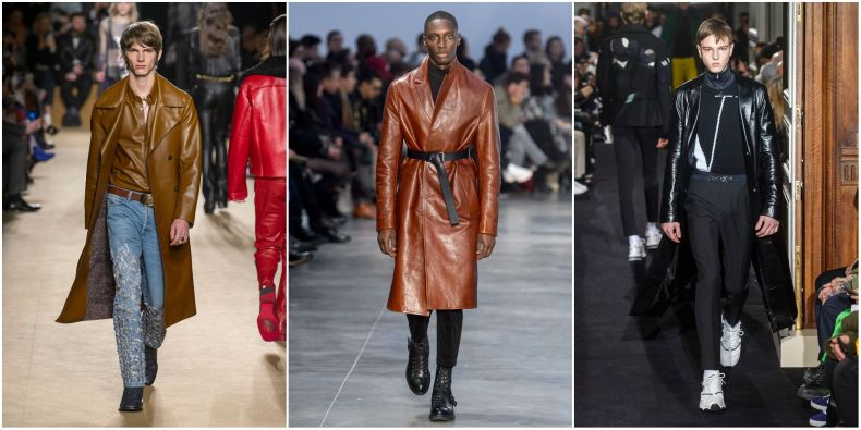 fashion trends autumn winter 2018 2019, leather trench from fashion week 2018 - men