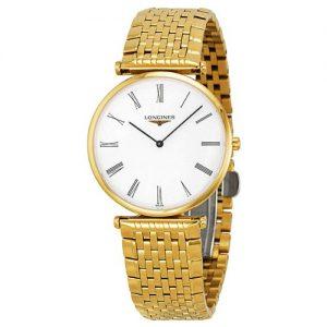 Longines L47092118 L4.709.2.11.8 - Orologio da polso da uomo, cinturino in oro giallo, orologi svizzeri