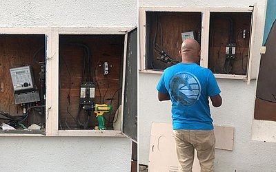 Após roubo de fiação, eletricista trabalha para restabelecer energia em creche