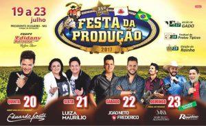 Definida grade de shows da Festa da Produção de Presidente Olegário