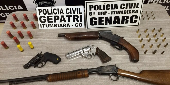 Polícia Civil prende 02 homens e apreende armas e munições em Itumbiara