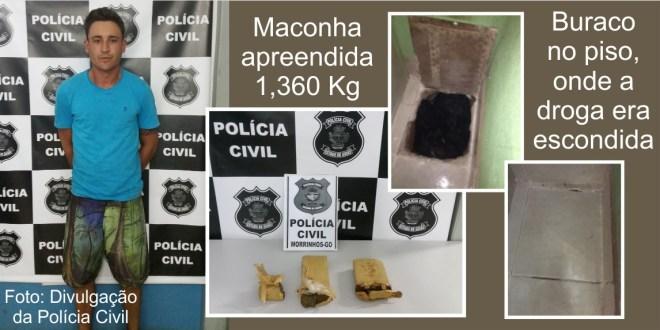 Polícia Civil prende suspeito de tráfico e apreende maconha em Morrinhos