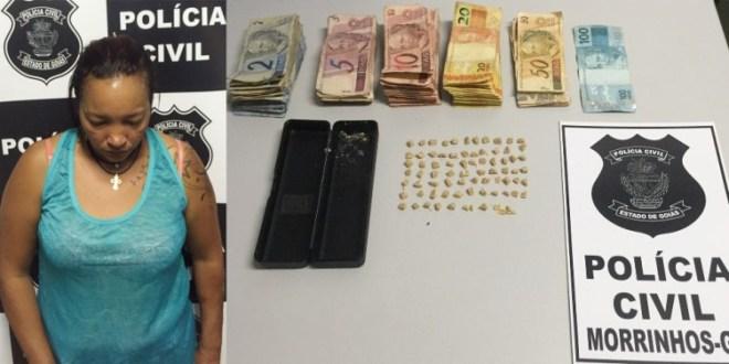 Polícia Civil prende mulher suspeita de tráfico em Morrinhos e apreende drogas