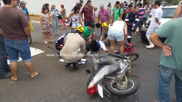 SAMU e Corpo de Bombeiros prestam socorro à motociclista