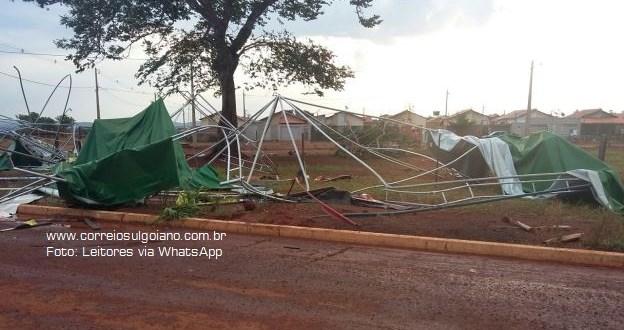 Chuva e vento assustam população e causam prejuízos em Pontalina