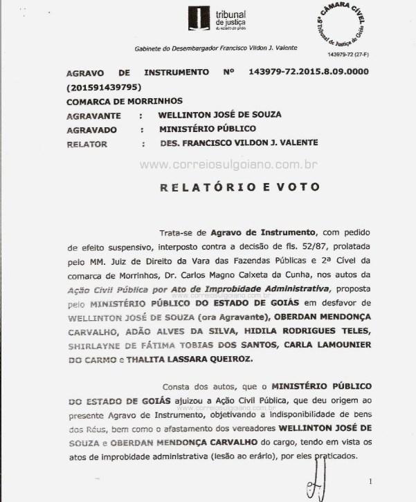 Página 01 do Relatório e Voto dos desembargadores do TJ/GO
